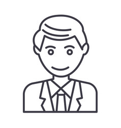office man businessman line icon sign vector image