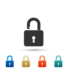 open padlock icon on white background lock symbol vector image
