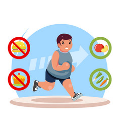 Overweight body diet fat man character lose weight vector