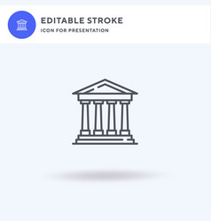 Parthenon icon filled flat sign solid vector