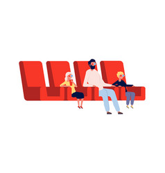 people in cinema father children watch movie vector image