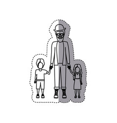 People man with her children icon vector