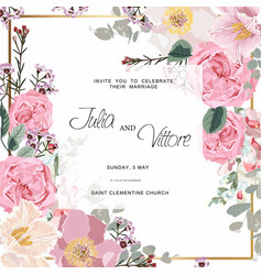 pink rose flowers wedding invitation card vector image
