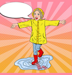pop art girl in rubbers running on puddles vector image