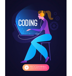 programming coding programmer woman at work vector image