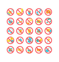Prohibition sign flat icon set vector