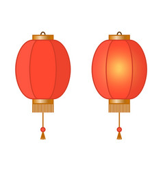 red chinese traditional paper lantern with light vector image