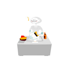 robot washing dishes in the kitchen home vector image vector image