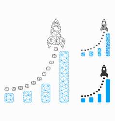 rocket business start mesh network model vector image