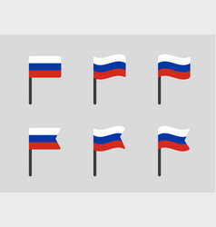 Russia flag icons set russian federation national vector