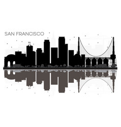 San francisco city skyline black and white vector