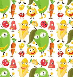 Seamless background with vegetables and fruits vector