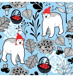 Seamless pattern with polar bear in cute red hat vector image