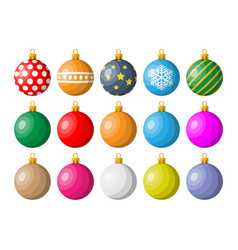 set christmas balls on white background vector image