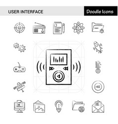 Set of 17 user interface hand-drawn icon set vector
