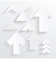Set of white different paper arrows vector