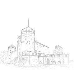 Sketch a medieval fortress vector