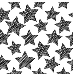 Sketch seamless pattern with stars Black stars on vector