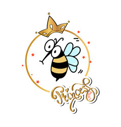 slogan print with cute bee vector image