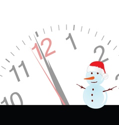 Snowman with clock vector