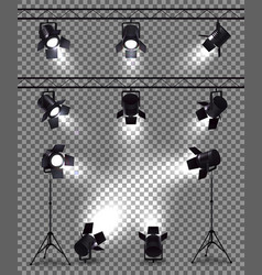 spotlights realistic transparent collection vector image
