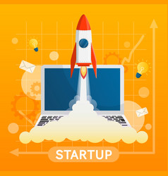 startup concept with element on yellow background vector image