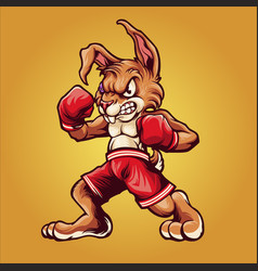 Strong rabbit wear boxing gloves vector