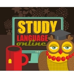 Study foreign language online vector