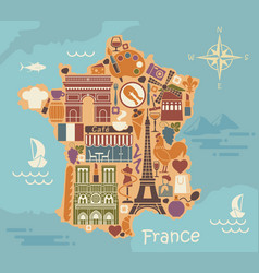 Symbols of france in the form of a stylized maps vector