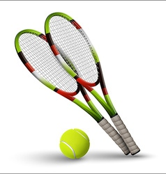 Tennis symbols rackets and ball isolated on white vector image