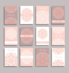 Thank you notes greetings pink vector