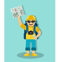tourist with a map and a backpack vector image