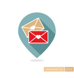 Two envelope pin map icon love letter vector