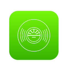 vinyl record icon green vector image