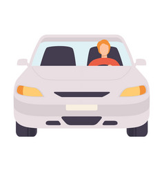 White car with male driver front view vector