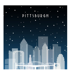 winter night in pittsburgh night city vector image