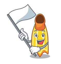 With flag swim fin mascot cartoon vector