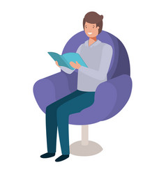young man reading book in the sofa vector image