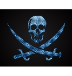 blue skull Pirate flag Sequins vector image vector image