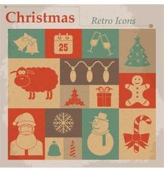 Christmas retro icons vector image vector image
