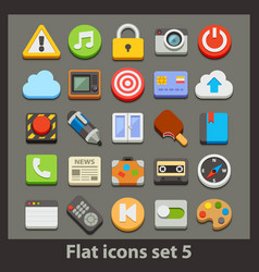 flat icon-set 5 vector image vector image