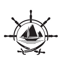 pirate yacht boat logo with wheel and swords vector image vector image