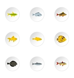 Species of fish icons set flat style vector image vector image