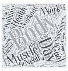 Body building workout word cloud concept vector