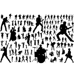 music silhouettes vector image vector image