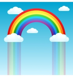 Rainbow rain and clouds in the sky vector image vector image