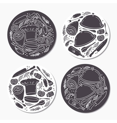 Round stickers set with doodle food patterns Hand vector image vector image
