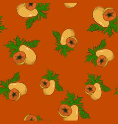 seamless pattern papaya on orange background vector image