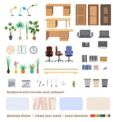 set of business elements and furniture to create vector image