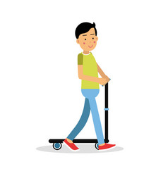 cute brunette boy teen riding a kick scooter vector image vector image